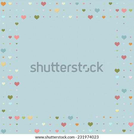 Heart patterned frame/border with multicolored hearts - stock photo