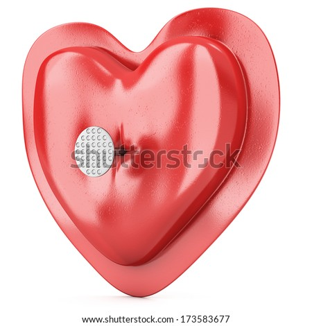 Heart pierced by a nail isolated on white background. 3d illustration - stock photo