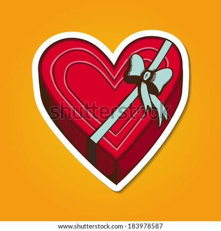 Heart present box with bow. Paper sticker imitation. Romantic tender design - stock photo