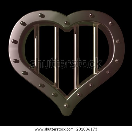 heart prison window on black background - 3d illustration - stock photo