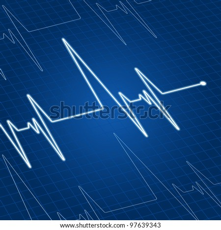 Heart pulse on blue screen for medicine and cardiology design. Vector version also available in gallery - stock photo