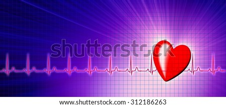 Heart rate with ECG graph on the futuristic medical monitor in the cyberspace. 3D background - stock photo