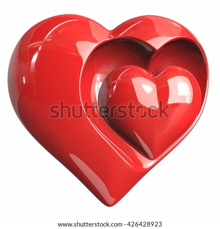 Heart, red, gold, steel, white background. 3d illustration - stock photo