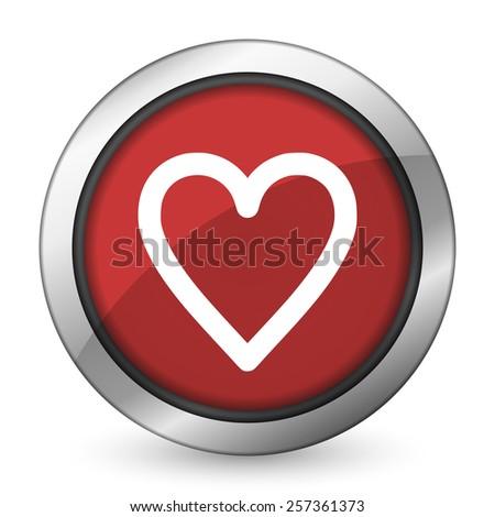 heart red icon love sign  - stock photo