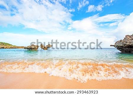 Heart rock and waves, Okinawa, Japan - stock photo