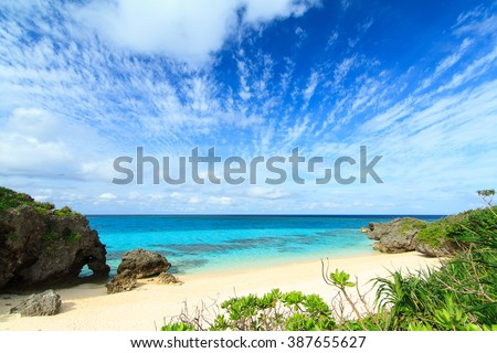 Heart Rock at Ikizu Beach on Ikema Island, Miyakojima, Okinawa, Japan - stock photo
