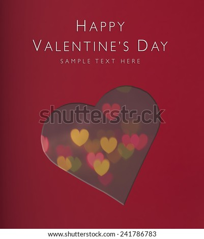 Heart shape cut out from paper with small heart bokeh silhouette background, Happy Valentines day, holiday card - stock photo