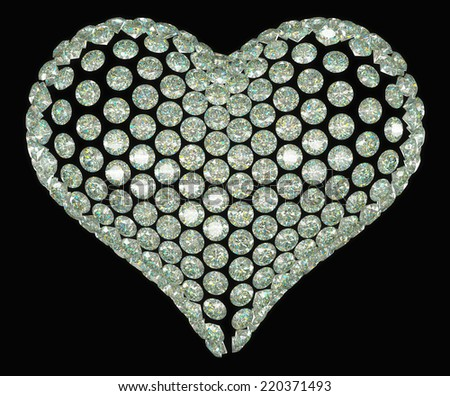 Heart shape diamond or gemstone set isolated on black - stock photo
