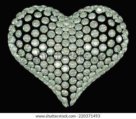 Heart shape diamond or gemstone set isolated on black - stock photo