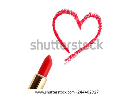 Heart shape drawn with lipstick - stock photo