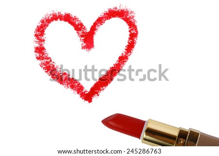 Heart shape drawn with lipstick - stock photo