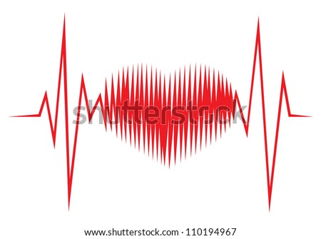 Heart shape ECG line - stock photo
