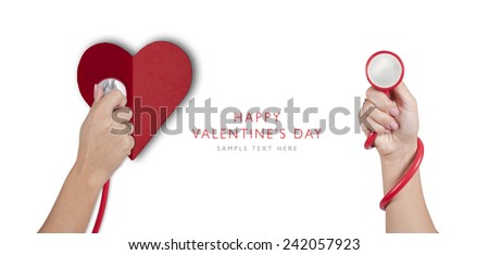 Heart shape from paper Happy Valentines day with hand hold red stethoscope, medical holiday card, isolated on white background - stock photo