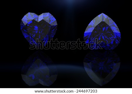 Heart shape gemstone. Collections of jewelry gems on black. Sapphire - stock photo