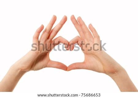heart shape gesture hands female isolated on white background - stock photo
