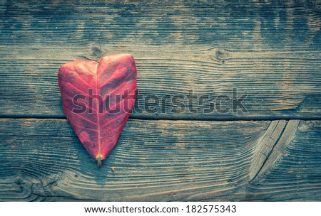 Heart shape leaf on wood background with retro filter effect - stock photo