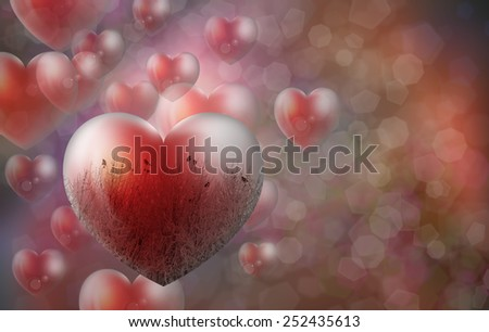 Heart shape Love symbol and  hoarfrost against birds - stock photo