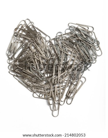Heart Shape made of Office Clips - stock photo
