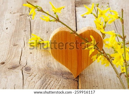 heart shape made of wood with forsythia on rustic wooden background, love symbol for valentine's day or mothers day - stock photo
