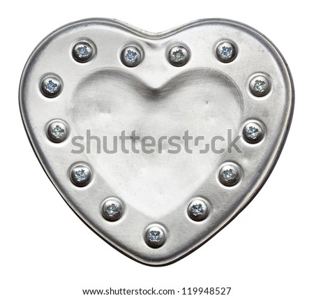 Heart shape metal plate, isolated - stock photo