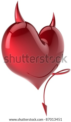 Heart shape of Devil Love passion symbol total red with horns and a tail. Demon feeling abstract. Lover trap concept. Valentine's day holiday symbol. Detailed 3d render. Isolated on white background - stock photo