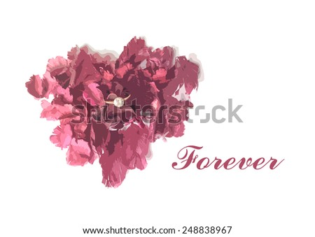 heart shape of flower sachet and diamond ring for valentine card  with wording forever - stock photo