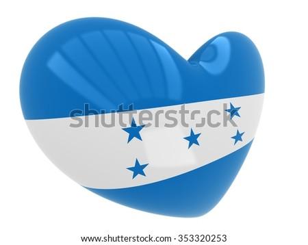 Heart shape of Honduras flag  - stock photo