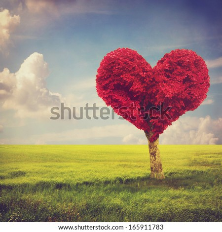 Heart shape red tree in meadow over blue sky - stock photo