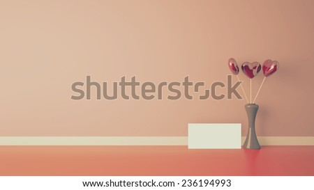 heart shape toy with vase, retro style interior - stock photo