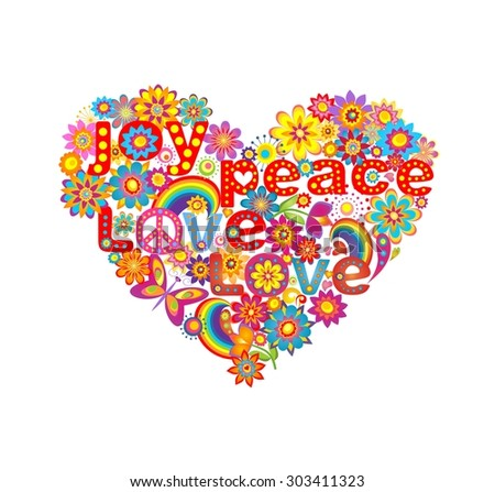 Heart shape with colorful flowers and hippie symbolic - stock photo