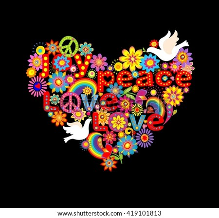 Heart shape with hippie symbolic and doves - stock photo