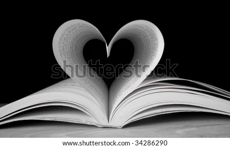 Heart shape with pages of book - stock photo