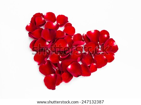 Heart shape with red petals of rose on white background for valentine day - stock photo