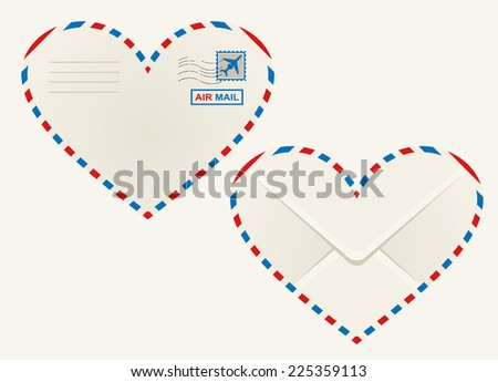 Heart shaped airmail envelope outlined in the striped red and blue airmail sign with the front view showing a postage stamp and rear view the flap - stock photo