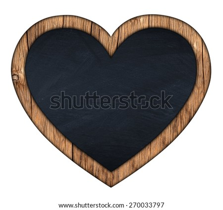 heart shaped blackboard on white background - stock photo