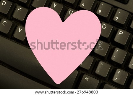 Heart Shaped Blank Sticky Note On Computer Keyboard/ Blank Note On Keyboard - stock photo