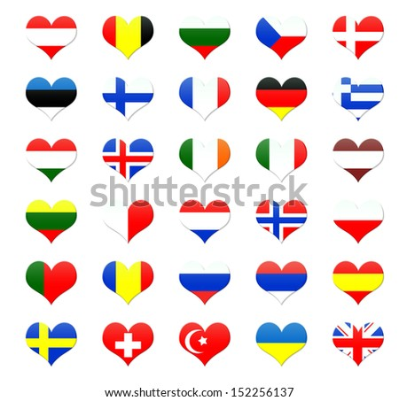 Heart shaped buttons of european countries flags - stock photo