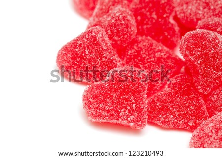 heart-shaped candies and empty space for your text - stock photo