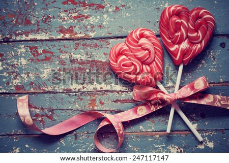 Heart shaped candies for Valentine's day  - stock photo