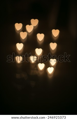 heart shaped candle lights - stock photo