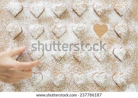Heart-shaped Christmas cookies  - stock photo