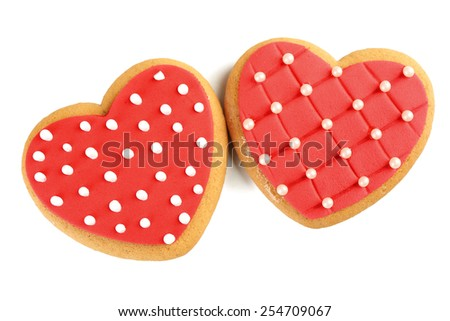 Heart shaped cookies for valentines day isolated on white - stock photo