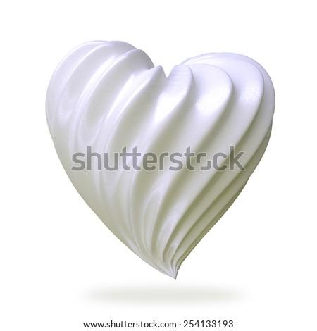 heart shaped cream, isolated on white background - stock photo
