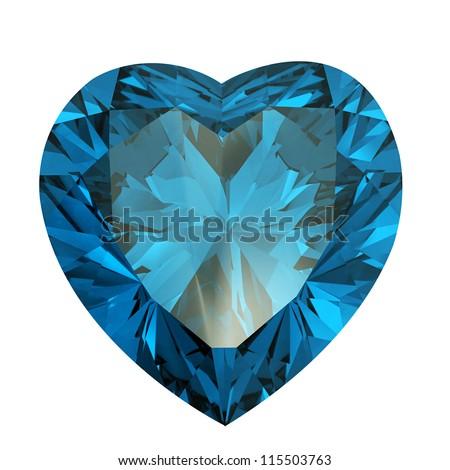 Heart shaped Diamond isolated on a white background. aquamarine - stock photo