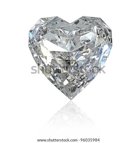 Heart shaped diamond, isolated on white background - stock photo