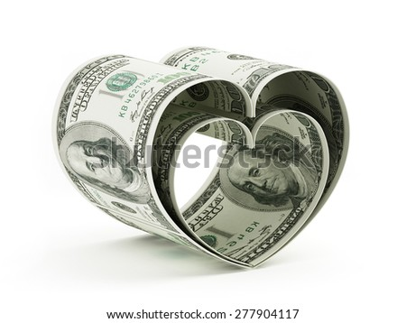 Heart shaped 100 dollar bills isolated on white background - stock photo
