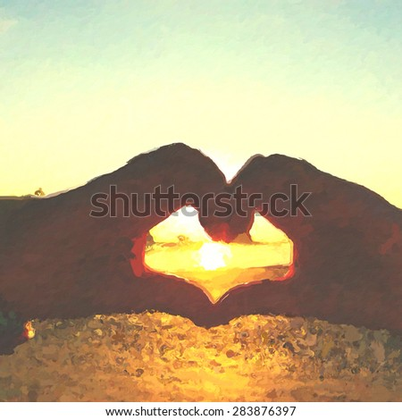 Heart shaped hand gesture showing love with sunset background in oil painting version in vintage style - stock photo
