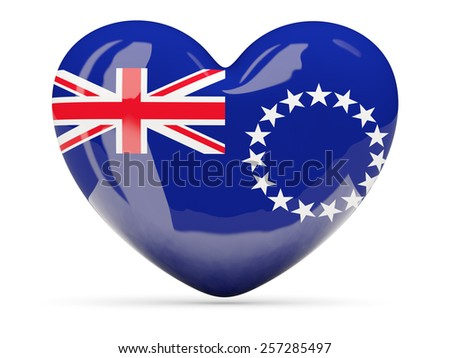 Heart shaped icon with flag of cook islands isolated on white - stock photo