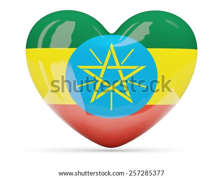 Heart shaped icon with flag of ethiopia isolated on white - stock photo