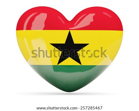 Heart shaped icon with flag of ghana isolated on white - stock photo